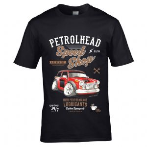 Premium Koolart Petrolhead Speed Shop Motif With Classic Mini Works S Car Image Mens T-shirt Top